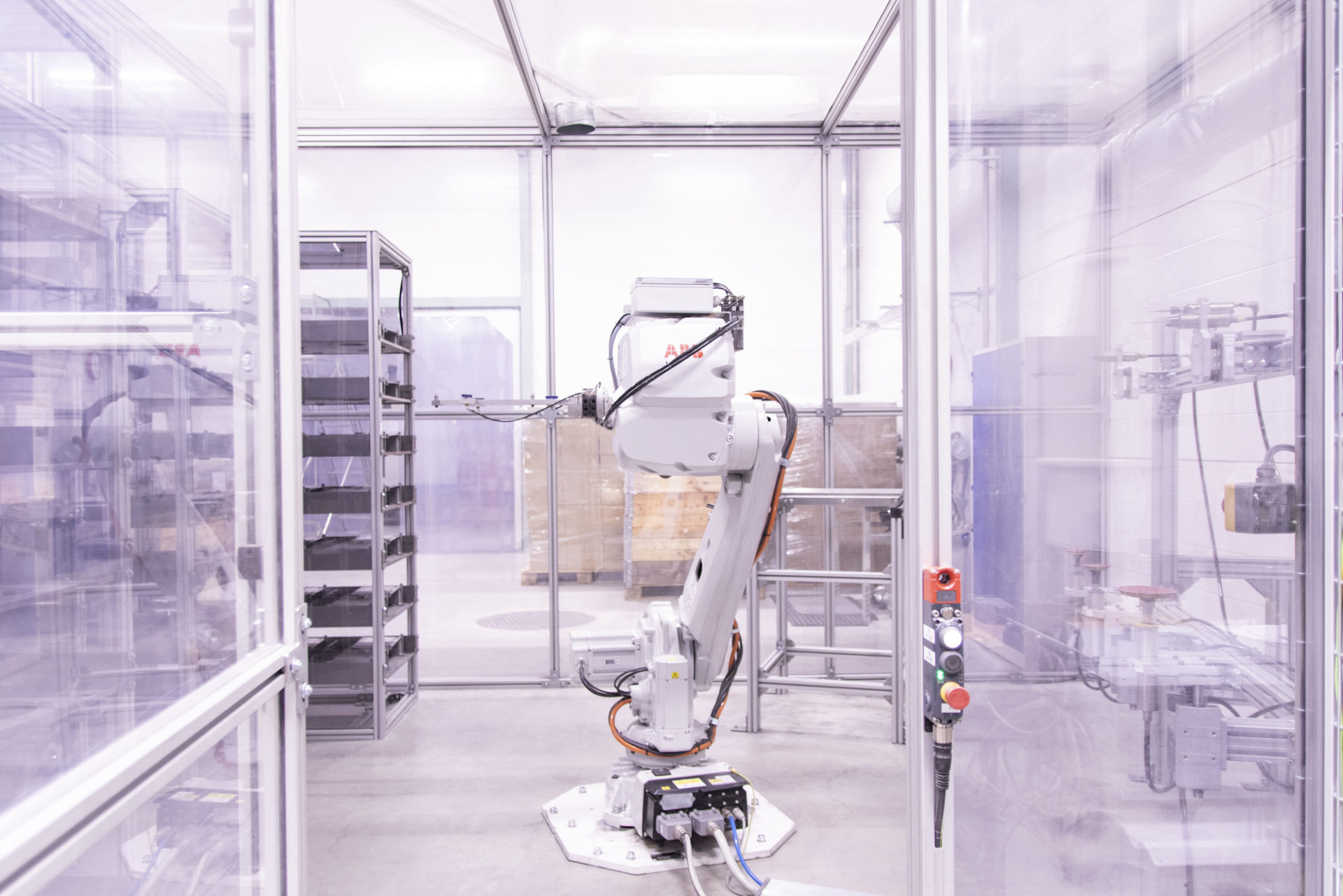 An automatic grinding robot on standby