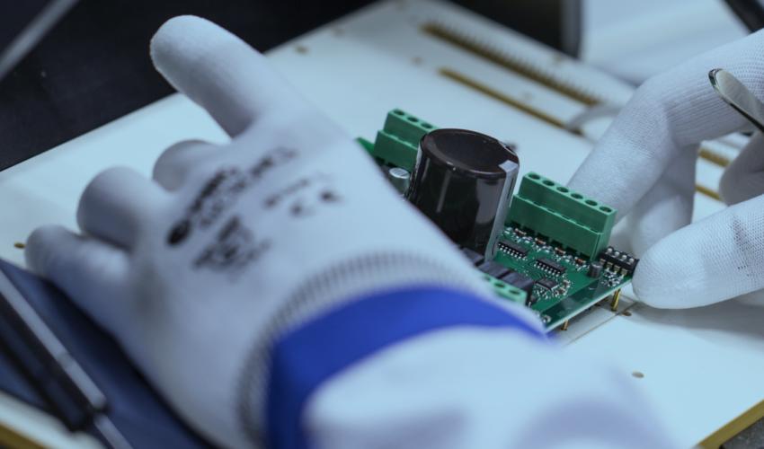 Close-up of testing PCB