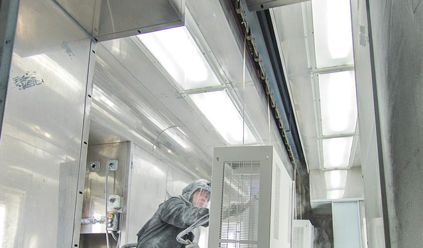 Powder coating sheet metal products