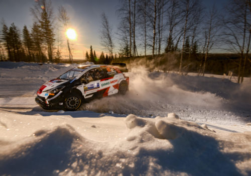 Rally car racing in the snowy Lapland